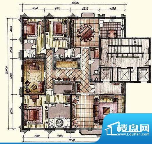 钓鱼台七号院B户型 4室2厅4卫1面积:411.00平米
