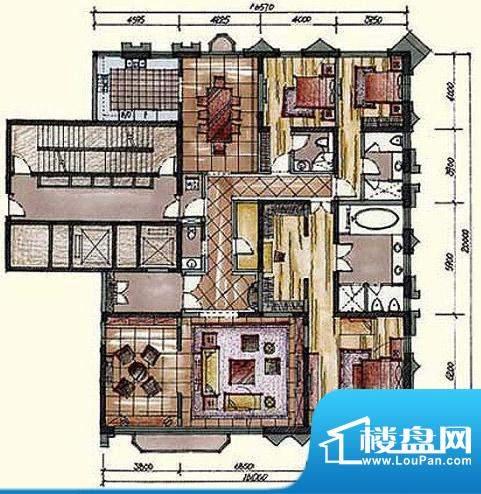 钓鱼台七号院A1户型 3室2厅4卫面积:356.00平米