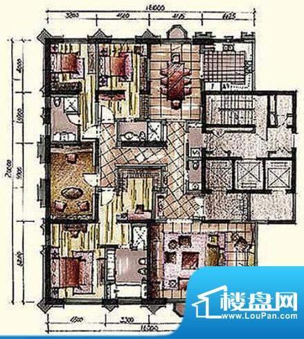 钓鱼台七号院A2户型 3室2厅4卫面积:353.00平米