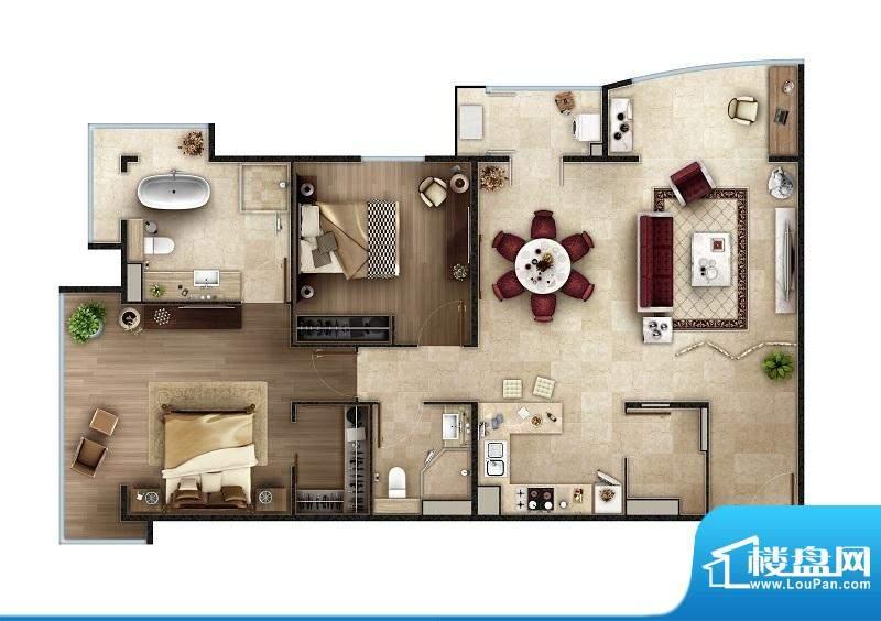 PARK北京A1户型 2室2厅2卫1厨面积:138.00平米