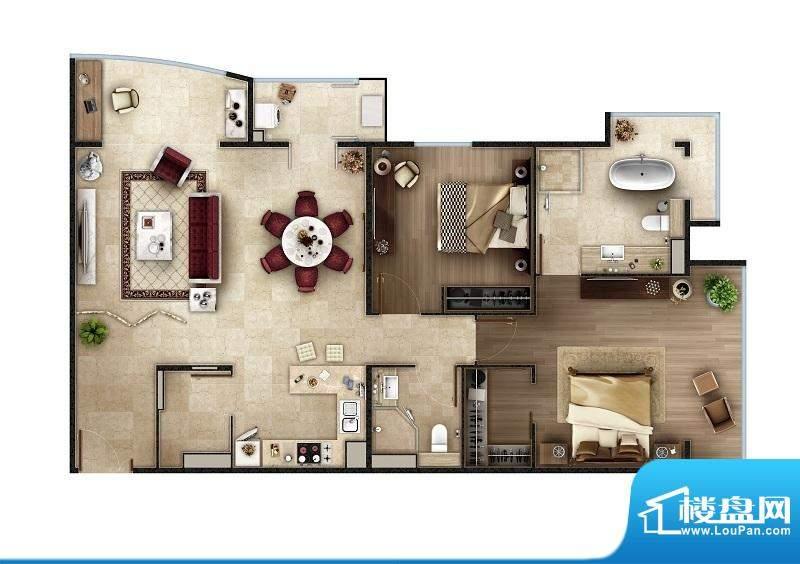 PARK北京A户型 2室2厅2卫1厨面积:138.00平米