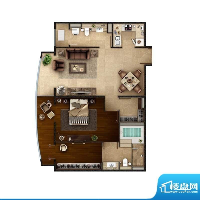 PARK北京B1户型 1室2厅2卫1厨面积:126.00平米