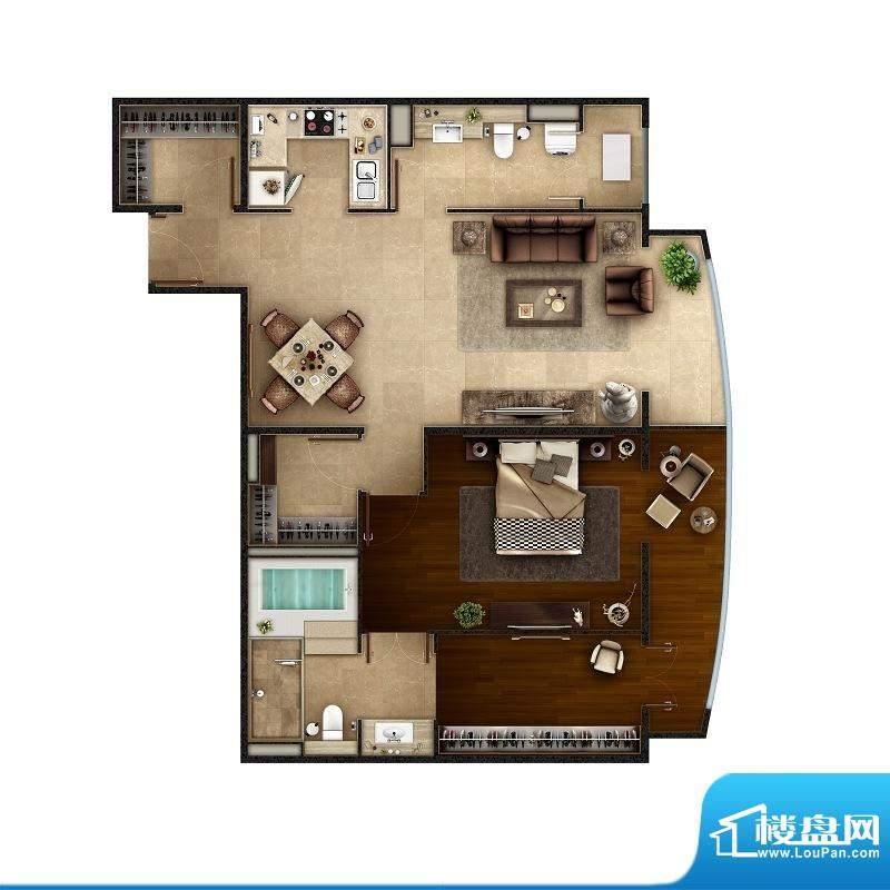 PARK北京B户型 1室2厅2卫1厨面积:126.00平米