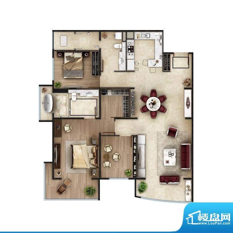 PARK北京C1户型 2室2厅2卫1厨面积:163.00平米