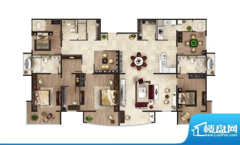 PARK北京C2户型 4室2厅3卫1厨面积:334.00平米