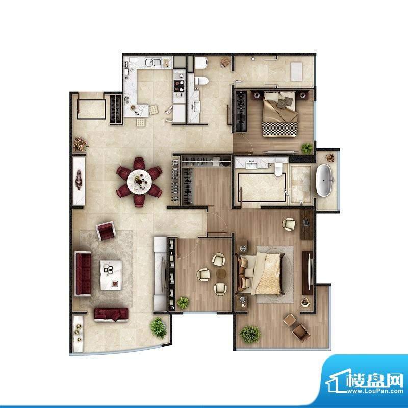 PARK北京C户型 2室2厅2卫1厨面积:163.00平米
