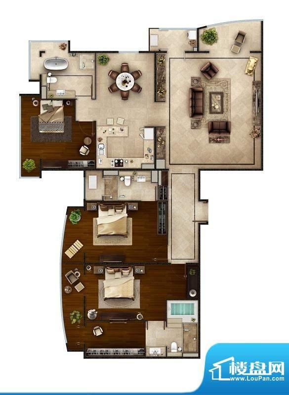PARK北京D1户型 3室2厅3卫1厨面积:264.00平米