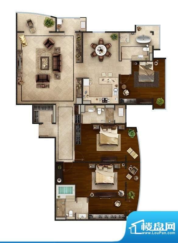 PARK北京D户型 3室2厅3卫1厨面积:264.00平米