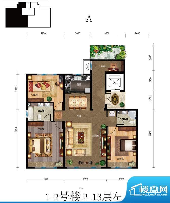 蓝爵公馆A户型 3室3厅2卫1厨面积:146.00平米