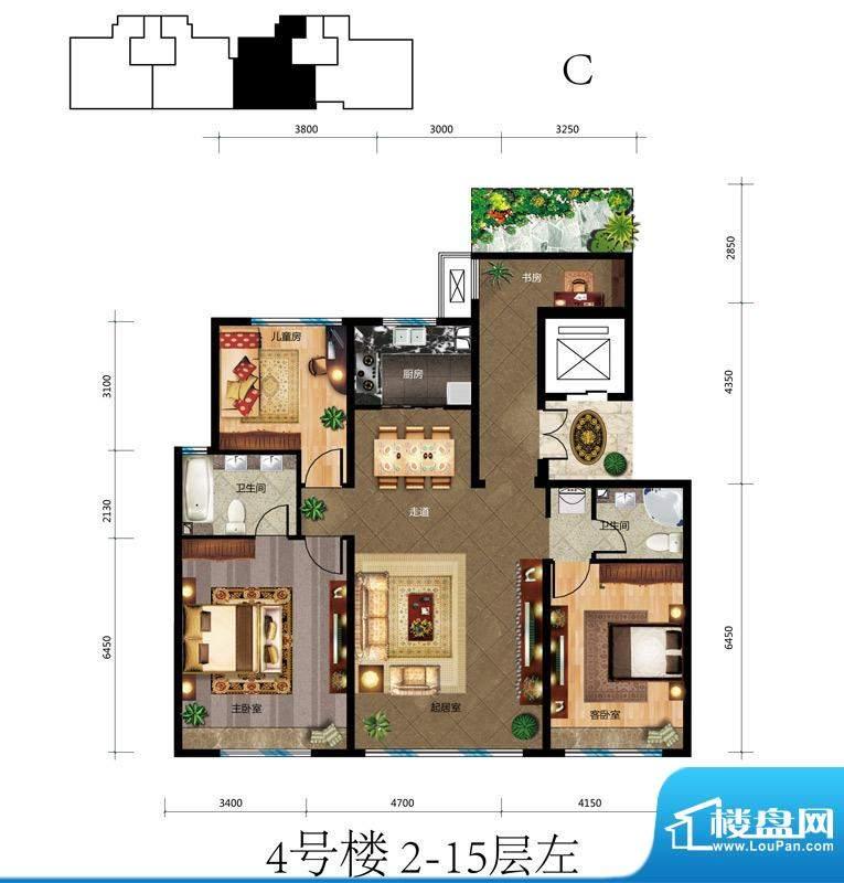 蓝爵公馆C户型 3室3厅2卫1厨面积:138.00平米