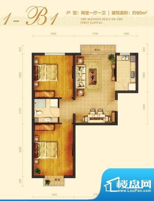 玺源台1-B1户型图 2室1厅1卫1厨面积:90.00平米