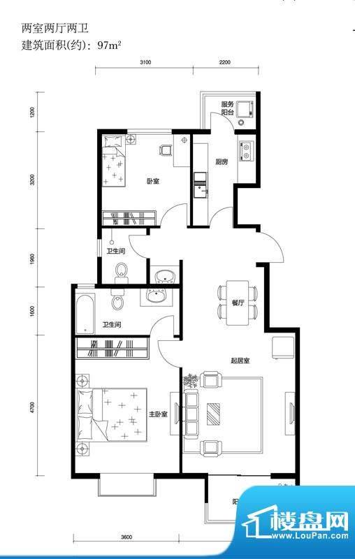 上林溪B2户型图 2室2厅2卫1厨面积:97.00平米
