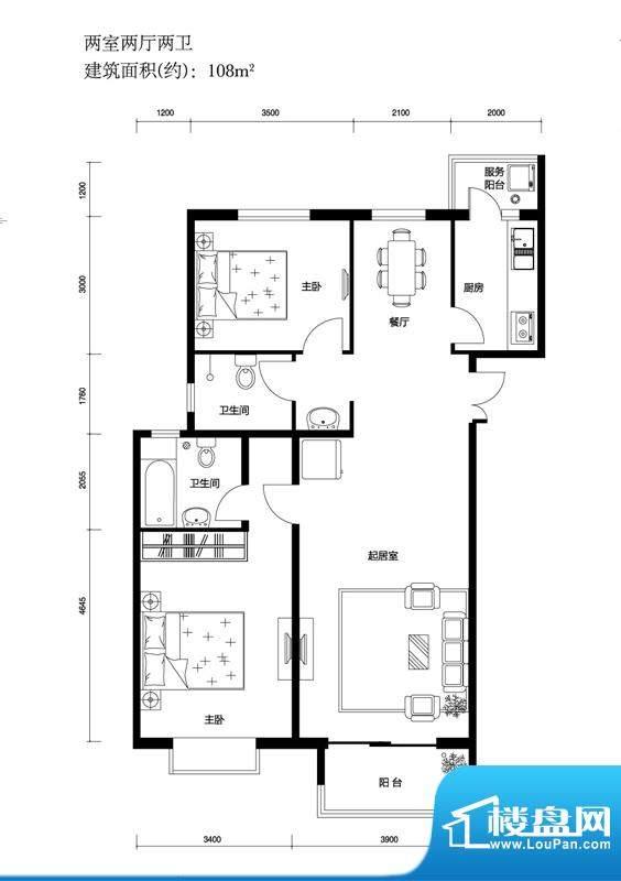 上林溪B1户型图 2室2厅2卫1厨面积:108.00平米