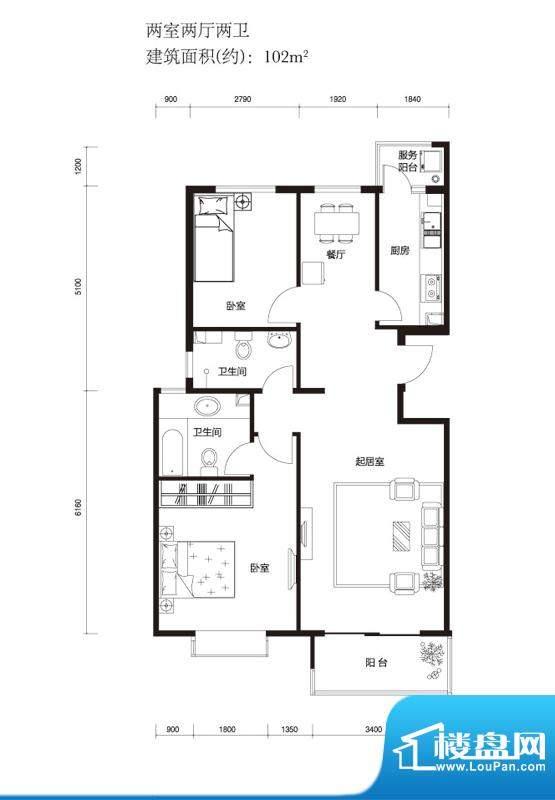 上林溪B3户型图 2室2厅2卫1厨面积:102.00平米