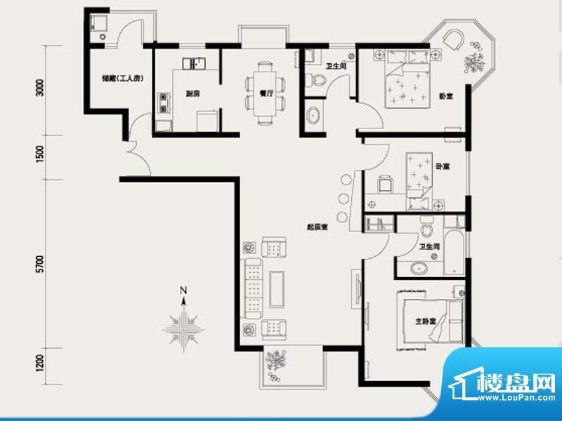 上林溪A1户型图 3室2厅2卫1厨面积:137.00平米