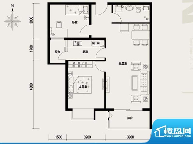 上林溪B户型图 2室2厅1卫1厨面积:93.00平米