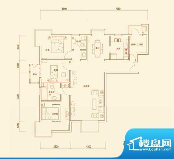 上林溪A户型 3室2厅2卫1厨面积:135.00平米