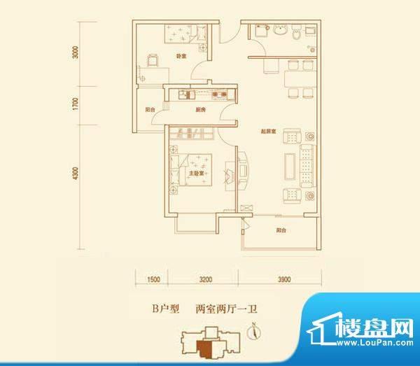 上林溪B户型 2室2厅1卫1厨面积:93.00平米
