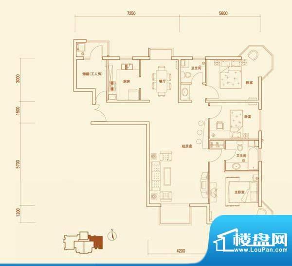 上林溪A1户型 3室2厅2卫1厨面积:137.00平米