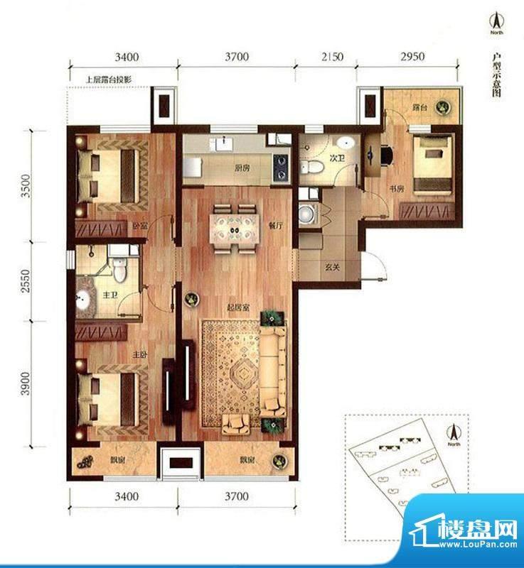 金域缇香三居户型图 3室2厅2卫面积:115.00平米