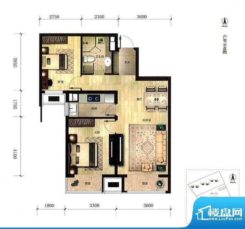 金域缇香两居户型图 2室2厅1卫面积:85.00平米