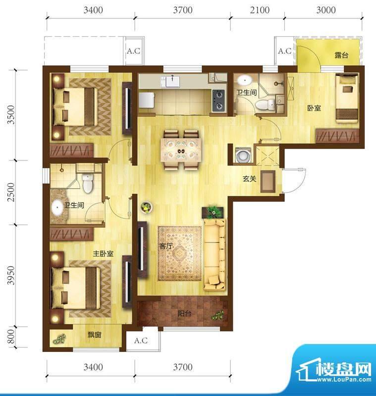 金域缇香三居户型图 3室2厅2卫面积:100.00平米