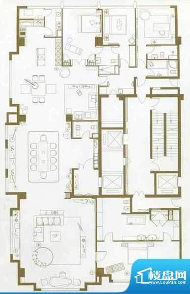 中轴国际4居户型图 4室3厅3卫1面积:452.80平米