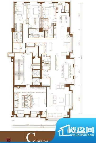 中轴国际C户型 4室3厅4卫1厨面积:553.21平米