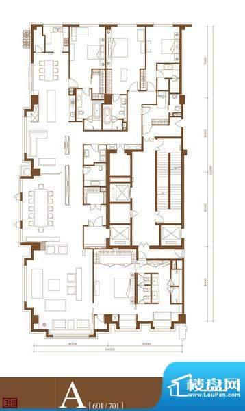 中轴国际A户型 4室3厅4卫1厨面积:530.30平米