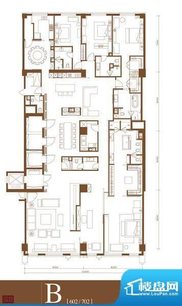 中轴国际B户型 4室3厅4卫1厨面积:623.20平米