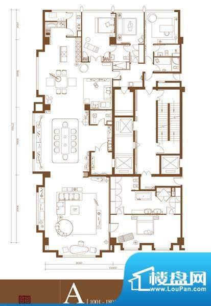 中轴国际A户型 4室3厅4卫1厨面积:452.80平米