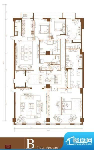 中轴国际B户型 4室3厅4卫1厨面积:490.50平米