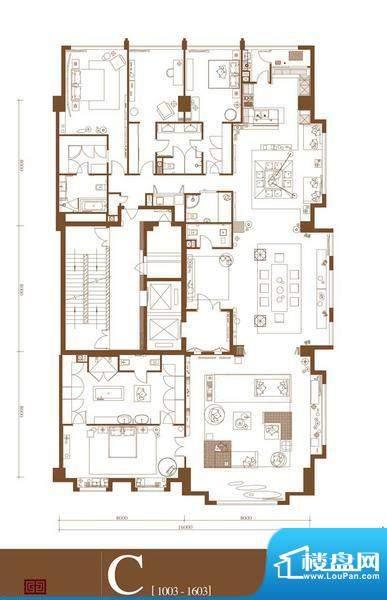 中轴国际C户型 4室3厅4卫1厨面积:483.13平米