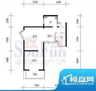 武夷·城市左岸38型标准层F户型面积:63.81平米