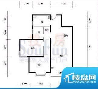 武夷·城市左岸40型标准层D户型面积:59.38平米