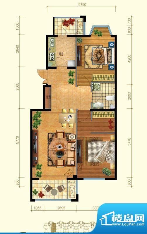 金桥·滨河丽舍C1户型 2室2厅1面积:91.00平米