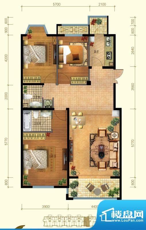 金桥·滨河丽舍B1户型 2室2厅1