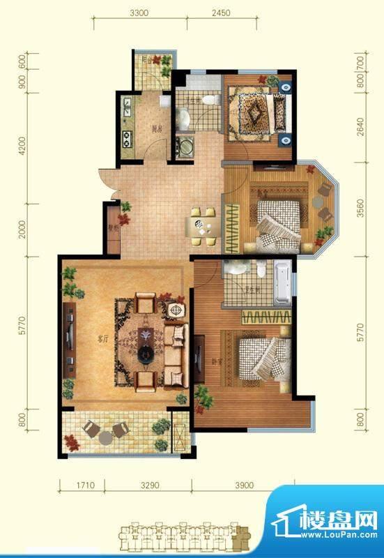 金桥·滨河丽舍B2户型 3室2厅2面积:113.00平米