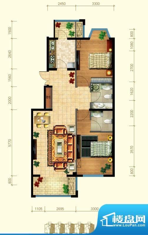 金桥·滨河丽舍A反户型 2室2厅面积:92.00平米