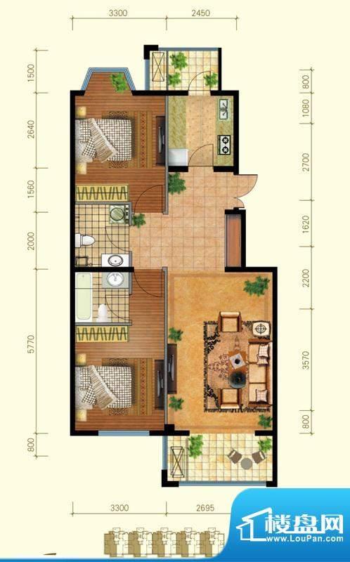 金桥·滨河丽舍A户型 2室2厅2卫面积:92.00平米