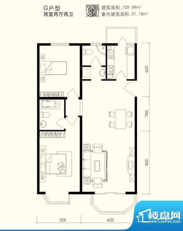 美丽星苑二期G户型 2室2厅2卫1面积:109.04平米