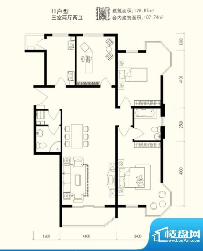 美丽星苑二期H户型 3室2厅2卫1面积:128.87平米