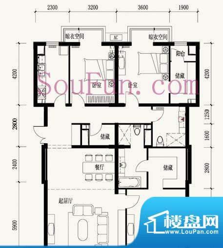 玉泉新城12号楼B9户型图 3室2厅面积:197.85平米
