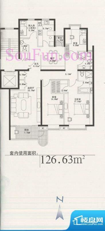 玉泉新城01户型 3室2厅3卫1厨面积:126.63平米