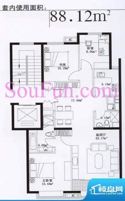 玉泉新城08户型 3室2厅2卫1厨面积:88.12平米