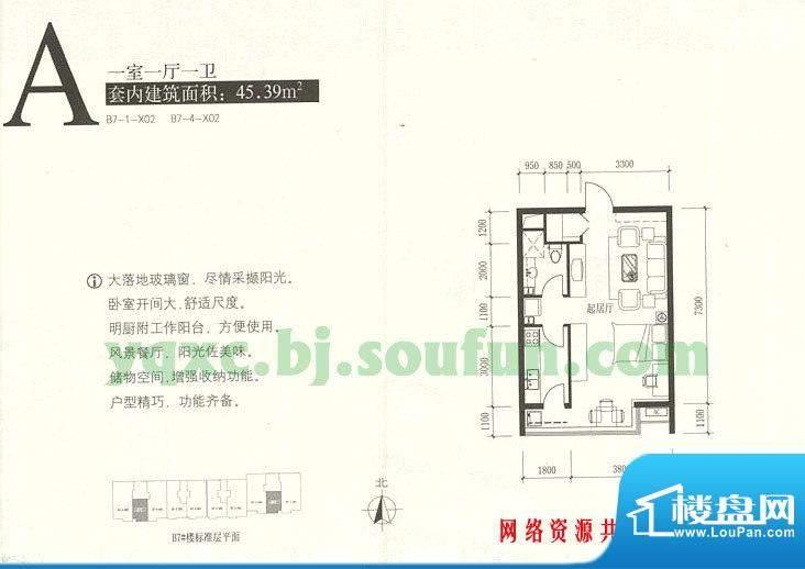 玉泉新城A户型 1室1厅1卫1厨面积:45.39平米
