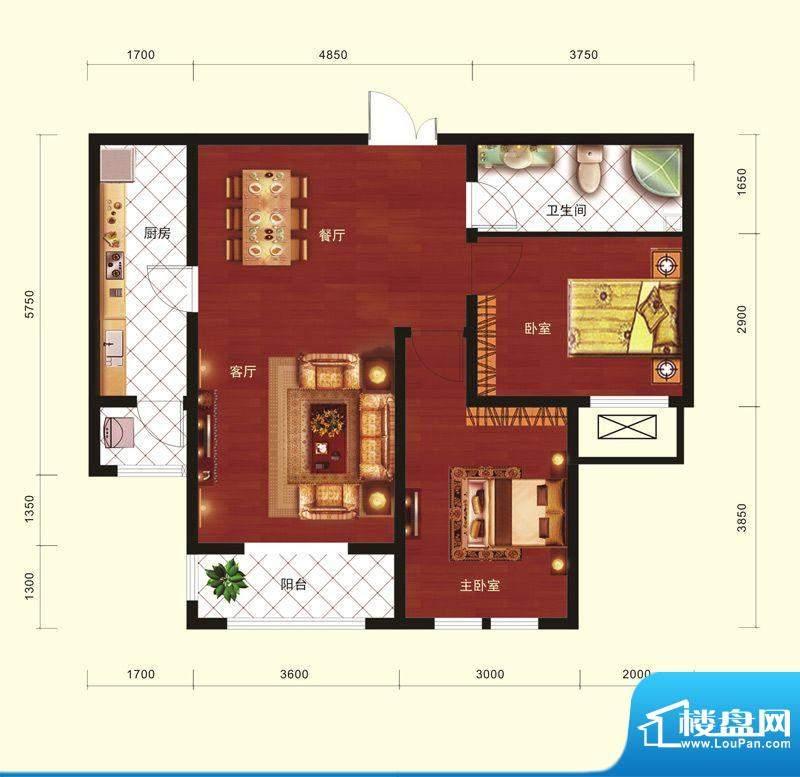 云河墅2居户型 2室2厅1卫1厨面积:91.00平米