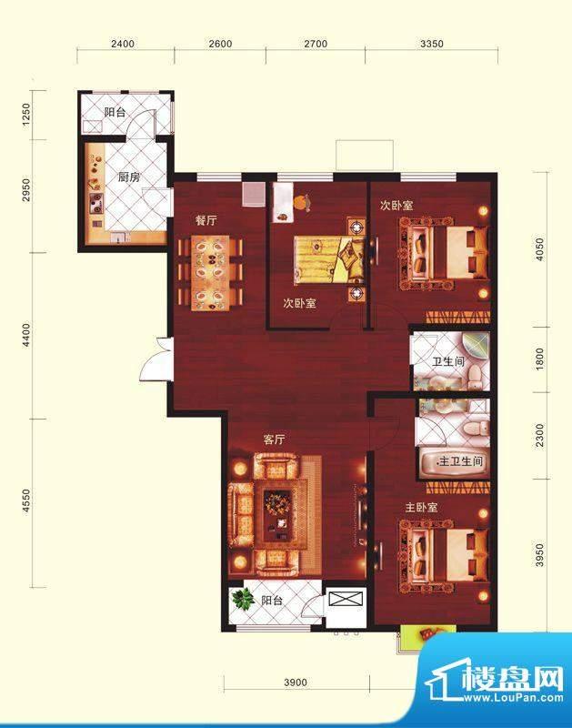 云河墅3居户型 3室2厅2卫1厨面积:129.00平米