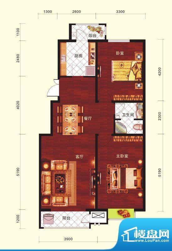 云河墅2居户型 2室2厅1卫1厨面积:99.00平米