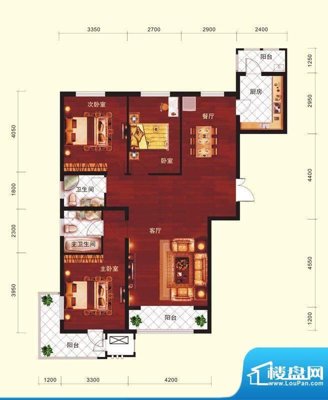 云河墅3居户型 3室2厅2卫1厨面积:144.00平米